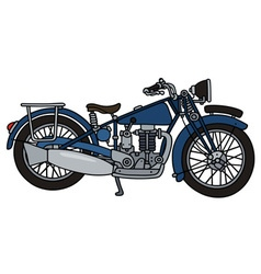 Vintage blue motorcycle vector