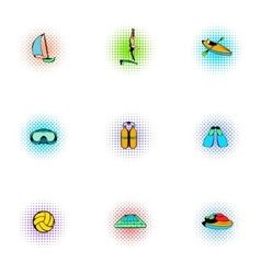 Water sport icons set pop-art style vector