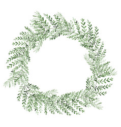 Watercolor plants wreath isolated on white vector