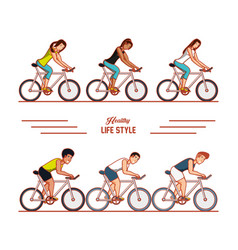 young athletes training sport with healthy vector image