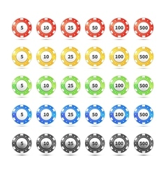 Big set of different nominal and colours casino vector image vector image