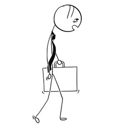 cartoon of tired and overworked business man vector image