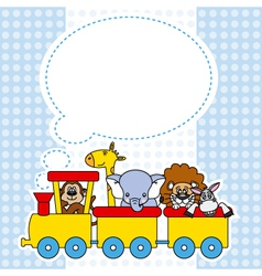 Children train with animals vector image vector image