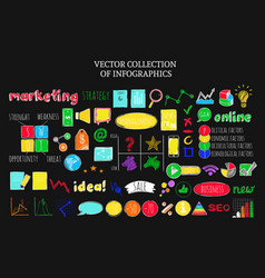 colorful infographic business sketch icons set vector image vector image
