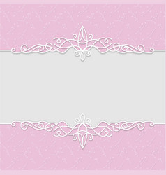 delicate frame in pink colors for wedding vector image