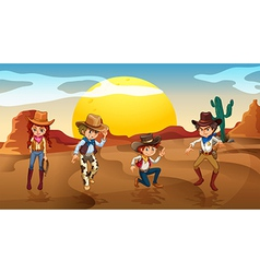 Desert Cowboy Cowgirl vector image