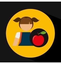 girl uniform school apple icon vector image