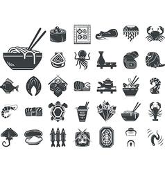 Seafood menu black monochrome icons vector image