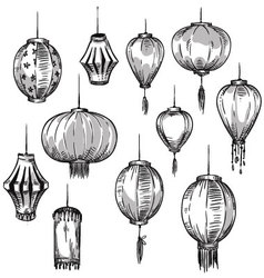 Set of Chinese lanterns vector image vector image