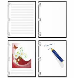 a set of four notebooks vector image vector image