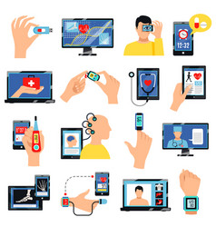 digital healthcare technology icons set vector image vector image