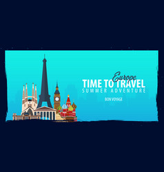 europe banner time to travel journey trip and vector image