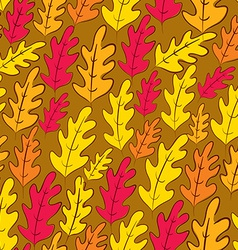 Fall oak leaves seamless pattern background vector image vector image