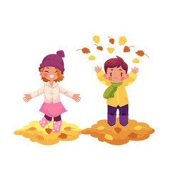 girl boy and autumn leaves isolated vector image vector image