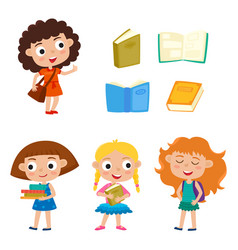 color set pretty girls stand with books vector image