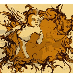 grunge floral frame with angel vector image vector image