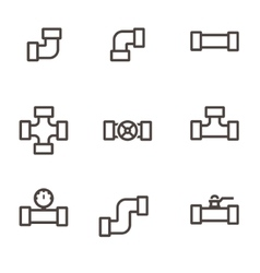 line pipe fittings icon set vector image vector image