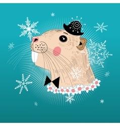 Portrait beaver hipster vector image