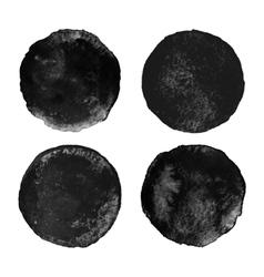 Set of black watercolor circular backgrounds vector image vector image