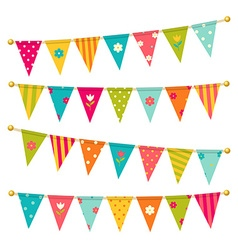 triangle bunting flags with flowers vector image