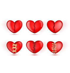 3d broken hearts icons in patches vector image