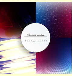Abstract backgrounds set trendy multicolored vector