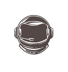 Astronaut flat helmet space sign logo vector