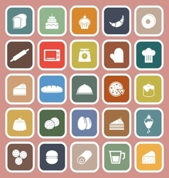 Bakery flat icons on pink background vector image