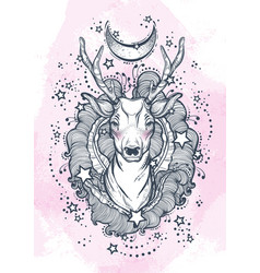 Beautiful hand-drawn tribal style deer on vector
