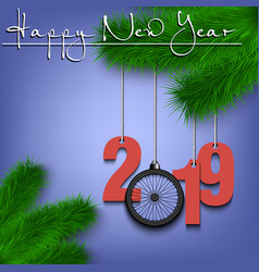 Bicycle wheell and 2019 on a christmas tree branch vector