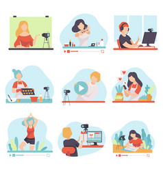 Blogging and vlogging set people bloggers vector