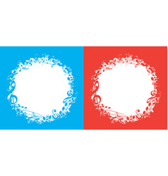 blue and red music backgrounds with white center vector image