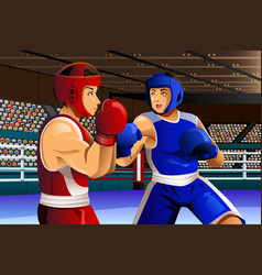 Boxers fighting in ring vector