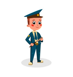 boy captain character in uniform with spyglass vector image