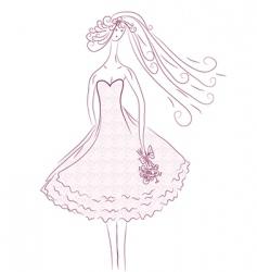 bride sketch in pink colors vector image