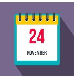 Calendar november 24 flat icon with shadow vector