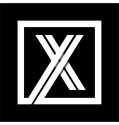 Capital letter X From white stripe enclosed in a vector