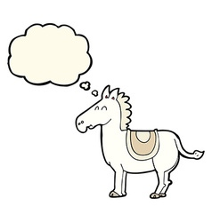 cartoon donkey with thought bubble vector image