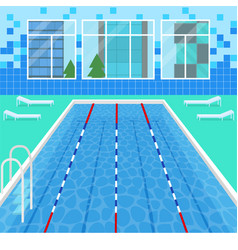 cartoon swimming pool interior card poster vector image