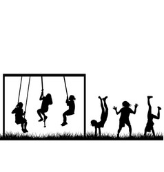 Children playing outside vector