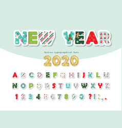 christmas paper cut out decorative font new year vector image