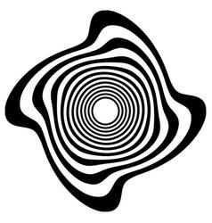 Circular shape with spiral vortex distortion vector
