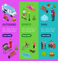 city public park or square banner vecrtical set 3d vector image