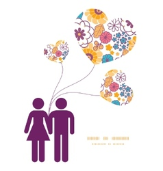 colorful oriental flowers couple in love vector image
