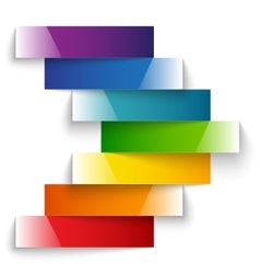 Colorful rainbow shiny paper stripes banners arrow vector image