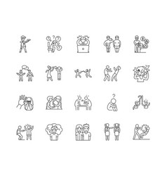 conflict line icons signs set outline vector image