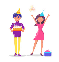 couple celebrate party man woman cake isolated vector image