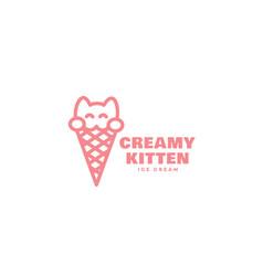 creamy kitten logo vector image