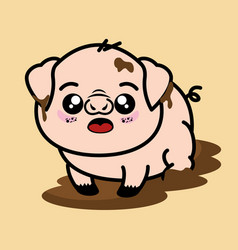 Cute and dirty pig cartoon vector