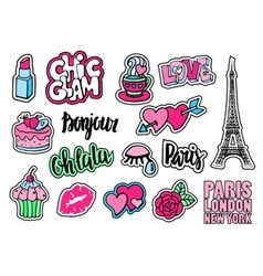 Cute fashion patch badges with lips hearts vector image